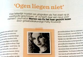 Gelaatskunde artikel in de Wendy met medewerking van Patty Kruiswijk